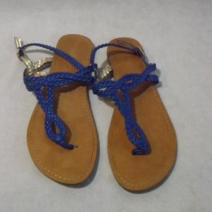 Womens MERONA flat sandals - braided - blue - Sz 8